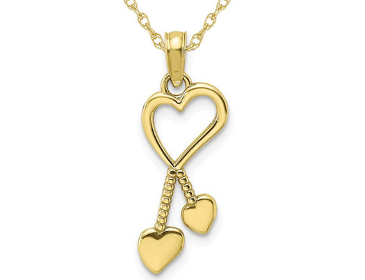 10K Yellow Gold Heart Tassle Charm Pendant Necklace with Chain