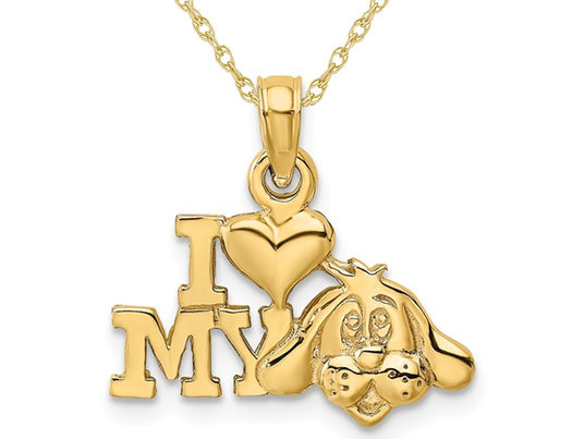 14K Yellow Gold I LOVE MY DOG Charm Pendant Necklace with Chain