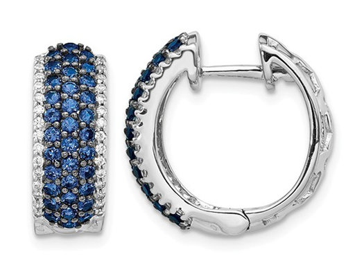 1/10 Carat (ctw) Natural Blue Sapphire Hoop Earrings in 14K White Gold with Diamonds 1/4 Carat (ctw)