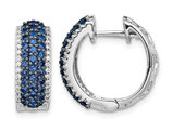 1/10 Carat (ctw) Natural Blue Sapphire Hoop Earrings in 14K White Gold with Diamonds