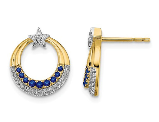 1/7 Carat (ctw) Natural Blue Sapphire Charm Star Moon Earrings in 14K Yellow Gold with Accent Diamonds