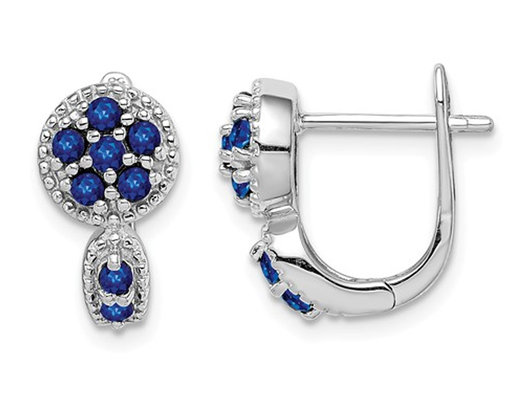 4/5 Carat (ctw) Natural Blue Sapphire Cluster Earrings in Sterling Silver
