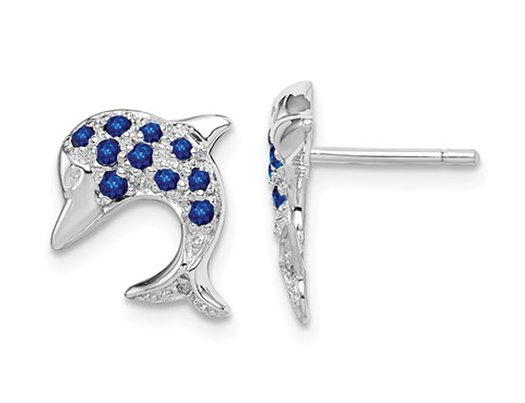 2/5 Carat (ctw) Natural Blue Sapphire Dolphin Charm Earrings in Sterling Silver
