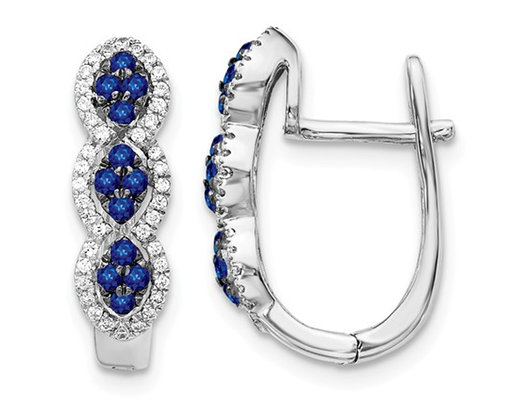 1/3 Carat (ctw) Natural Blue Sapphire Hoop Earrings in 14K White Gold with Diamonds 1/4 Carat (ctw)