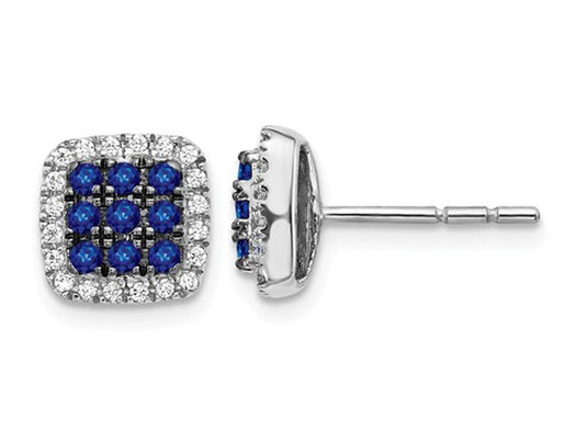 1/2 Carat (ctw) Natural Blue Sapphire Cluster Earrings in 14K White Gold with Diamonds