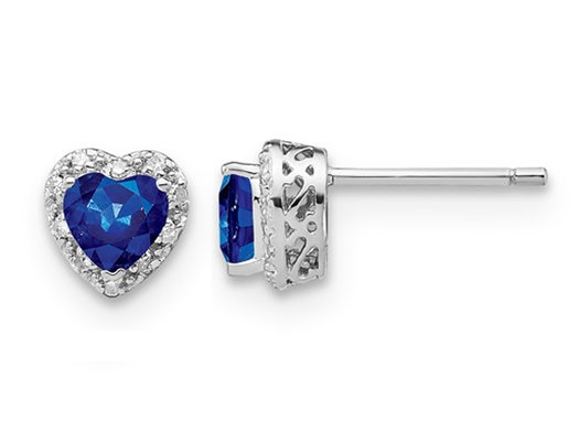 1.00 Carat (ctw) Lab Created Blue Sapphire Heart Earrings in Sterling Silver