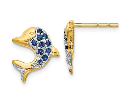 1/4 Carat (ctw) Natural Blue Sapphire Dolphin Charm Earrings in 14K Yellow Gold