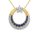 1/6 Carat (ctw) Natural Blue Sapphire Star and Moon Charm Pendant Necklace in 14K Yellow Gold with Diamonds and Chain