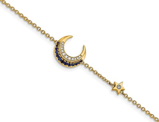 14K Yellow Gold Moon and Star Blue Sapphire Bracelet (7 inches)