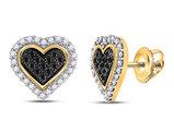 1/4 Carat (ctw) Black Diamond Heart Earrings in 10K Yellow Gold