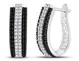 1.00 Carat (ctw I2-I3) Black and White Diamond Hoop Earrings in 14K White Gold