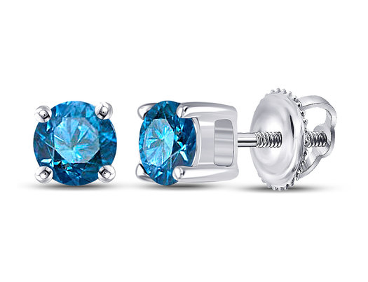 1/2 Carat (ctw I2-I3) Blue Diamond Solitaire Stud Earrings in 14K White Gold