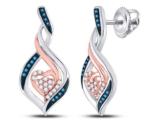 White and Blue Diamond Heart Earrings 1/6 Carat (ctw) in 10K White Gold