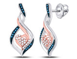 White and Blue Diamond Heart Earrings 1/6 Carat (ctw) in 10K White Gold