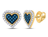 1/4 Carat (ctw) Blue Diamond Heart Earrings in 10K Yellow Gold