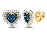 1/4 Carat (ctw) Blue Diamond Heart Earrings in 10K Yellow Gold