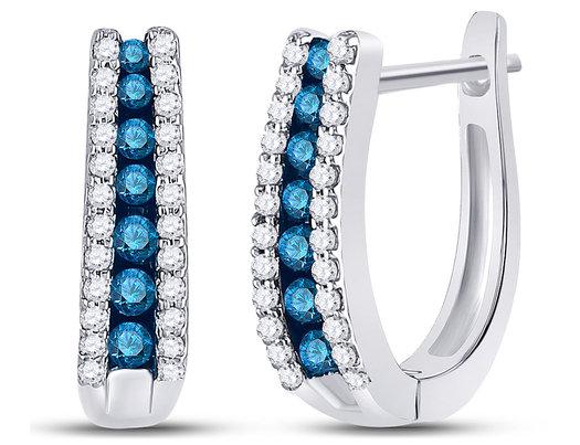 1/2 Carat (ctw I2-I3) Blue and White Diamond Hoop Earrings in 10K White Gold