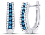 1/2 Carat (ctw I2-I3) Blue and White Diamond Hoop Earrings in 10K White Gold