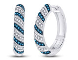 3/8 Carat (ctw)Blue and White Diamond Hoop Earrings in 10K White Gold