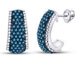 1.50 Carat (ctw I2-I3) White and Blue Diamond J-Hoop Earrings in 10K White Gold