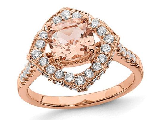1.18 Carat (ctw) Morganite Halo Engagement Ring with Diamonds 7/10 Carat (ctw) in 14K Rose Pink Gold