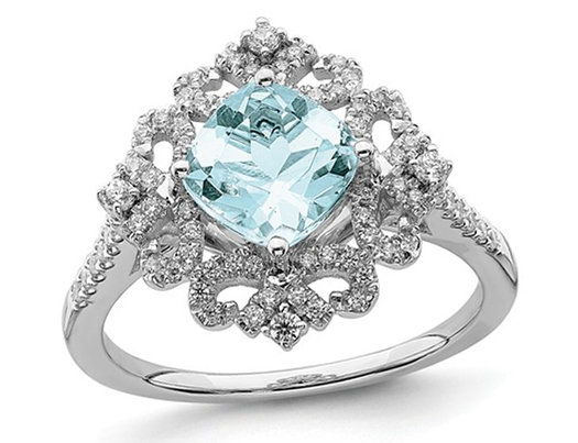 1.75 Carat (ctw) Natural Aquamarine Engagement Ring in 14K White Gold with Diamonds