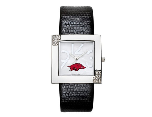 Ladies University of Arkansas Chrome Watch with Leather Strap