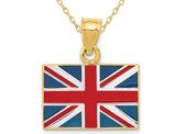 14K Yellow Gold Solid United Kingdom Flag Charm Pendant Necklace with Chain