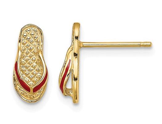 14K Yellow Gold Polished Enamel Flip-Flop Charm Earrings
