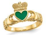 Ladies Claddagh Ring in Polished 14K Yellow Gold with Green Enamel