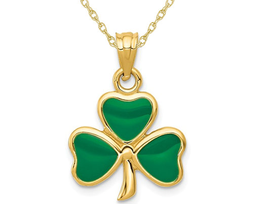 14K Yellow Gold 3-Leaf Clover Charm Pendant Necklace with Chain and Green Enamel