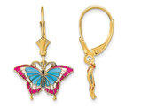 Blue and Red Stained Glass Butterfly Dangle Leverback Earrings in 14K Yellow Gold