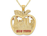 14K Yellow Gold Apple with New York Skyline Pendant Necklace with Chain