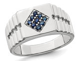 Mens 1/3 Carat (ctw) Natural Sapphire Ring in Sterling Silver