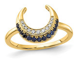 1/8 Carat (ctw) Natural Blue Sapphire Moon Ring in 14K Yellow Gold with Accent Diamonds