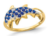 1/3 Carat (ctw) Natural Blue Sapphire Dolphin Ring in 14K Yellow Gold