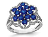 Natural Sapphire Flower Ring 1.70 Carat (ctw) in Sterling Silver