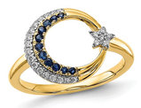 1/8 Carat (ctw) Natural Blue Sapphire Star Moon Ring in 14K Yellow Gold with Accent Diamonds