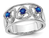 1/2 Carat (ctw) Natural Blue Sapphire Ring in 14K White Gold with Diamonds