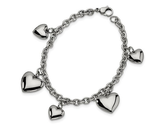 Stainless Steel Polished Hearts Bracelet 8 inches