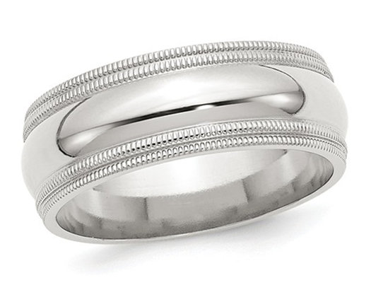 Men's Sterling Silver 8mm Double Milgrain Wedding Band