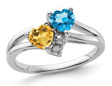 1.00 Carat (ctw) Citrine and Blue Topaz Heart Ring in Sterling Silver
