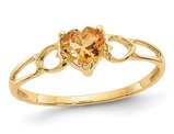 Yellow Citrine Promise Heart Ring 2/5 Carat (ctw) in 14K Yellow Gold