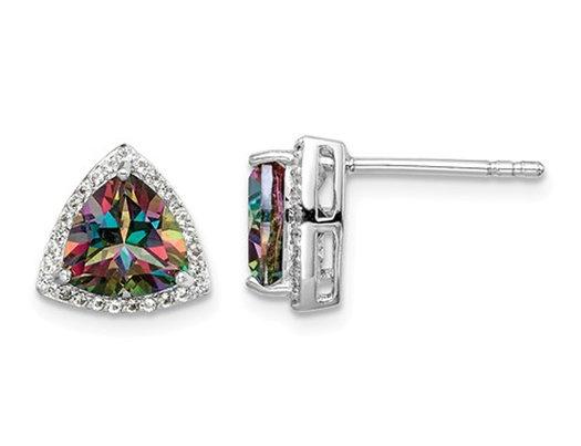 1.00 Carat (ctw) Trillion Mystic Fire Topaz Earrings in Sterling Silver