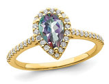 9/10 Carat (ctw) Mystic Fire Topaz Engagement Ring in 14K Yellow Gold with 1/4 Carat (ctw) Diamonds