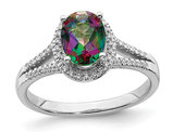 1.00 Carat (ctw) Mystic Fire Topaz Engagement Ring in 14K White Gold with 1/6 Carat (ctw) Diamonds