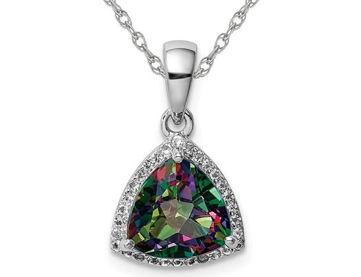 2.00 Carat (ctw) Mystic Fire Topaz Trillion Pendant Necklace in Sterling Silver with Chain