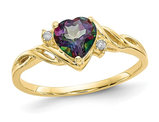 1.00 Carat (ctw) Mystic Fire Topaz Heart Ring in 10K Yellow Gold