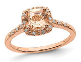 8/10 Carat (ctw) Morganite Halo Ring in 14K Rose Pink Gold with Diamonds