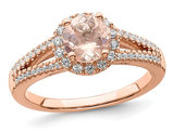 2.25 Carat (ctw) Morganite Halo Engagement Ring in 14K Rose Pink Gold with Diamonds